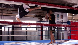 That's right, GSP is does fly-kicks in the ring!