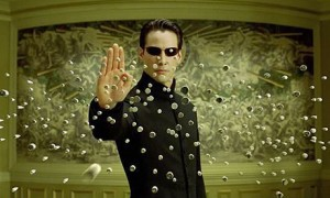 Keanu Reeves as Neo again - stopping bullets
