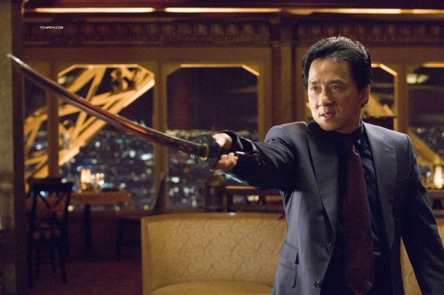 Jackie Chan with a sword